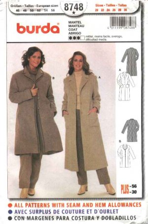Burda Sewing Pattern 8748 Women's Plus Sizes 20-30 Coats