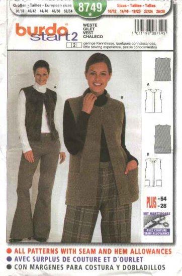 Burda Sewing Pattern 8749 Misses Sizes 10/12-26/28 Easy Vests