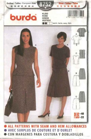 Burda Sewing Pattern 8752 Misses Sizes 10-22 Easy Skirt Top Two-piece Dress