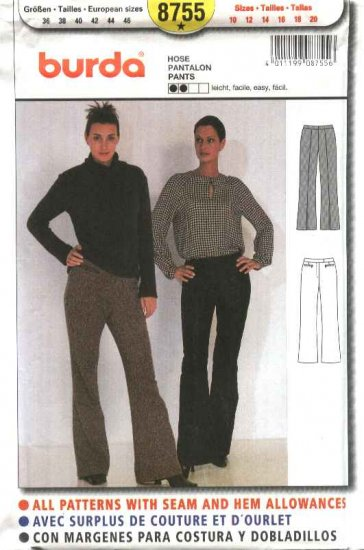 Burda Sewing Pattern 8755 Misses Sizes 10-20 Easy Pants