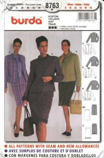 Burda Sewing Pattern 8763 Misses sizes 8-18 Suit Skirt Jacket