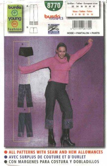 Burda Sewing Pattern 8770 Misses Sizes 6-16 Easy Pants Short Shorts