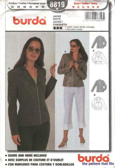 Burda Sewing Pattern 8819 Misses Sizes 10-20 Zipper Front Jacket Blazer