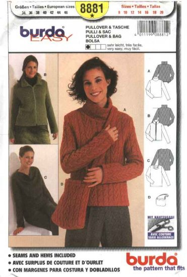 Burda Sewing Pattern 8881 Misses Sizes 8-20 East Pullover Sweater Jacket Bag Purse