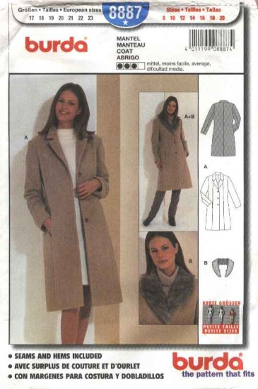 Burda Sewing Pattern 8887 Misses Sizes 8-20 Classic Fitted Winter Coat with detachable fur collar