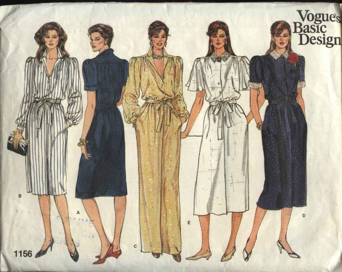 Vogue Sewing Pattern 1156 Misses Size 8-10-12 Classic Shirtwaist Button Front Dresses