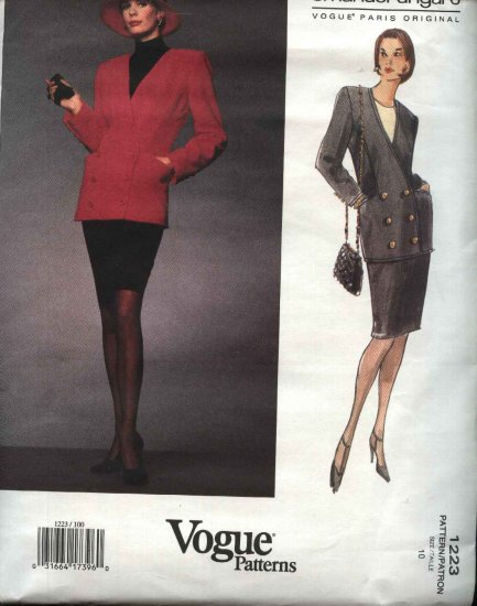 Vogue Sewing Pattern 1223 Misses Size 10 Emanuel Ungaro Paris Original Jacket Skirt