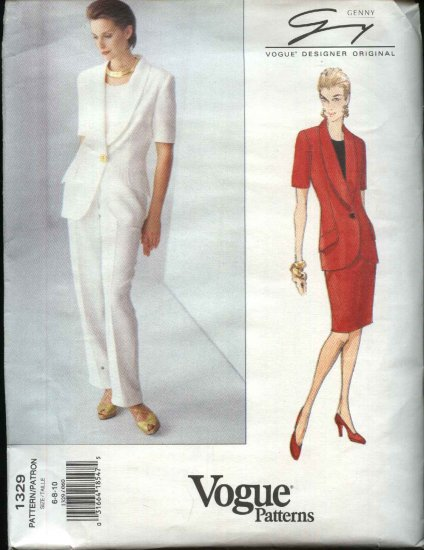 Vogue Sewing Pattern 1329 Misses Size 6-8-10 Genny Dresigner Original Jacket Skirt Pants