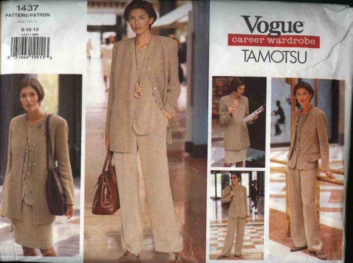 Vogue Sewing Pattern 1437 Misses Size 8-10-12 Tamotsu Career Wardrobe Jacket Vest Top Skirt Pants