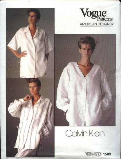 Vogue Sewing Pattern 1509 Misses Size 8 Calvin Klein Big Shirt Blouse Uncut