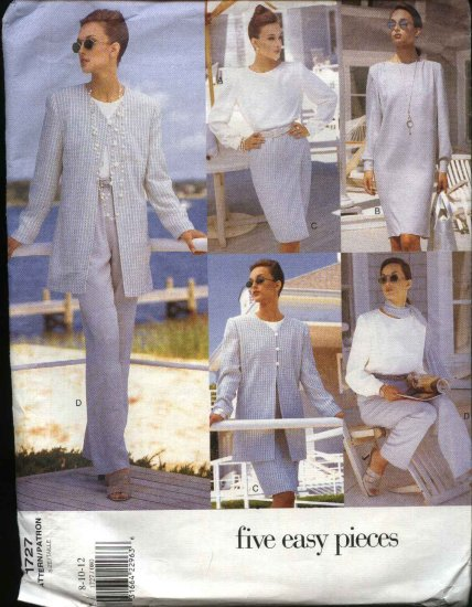 Vogue Sewing Pattern 1727 V1727 Misses Size 8-12 Easy Jacket Dress Top Skirt Pants Jacket