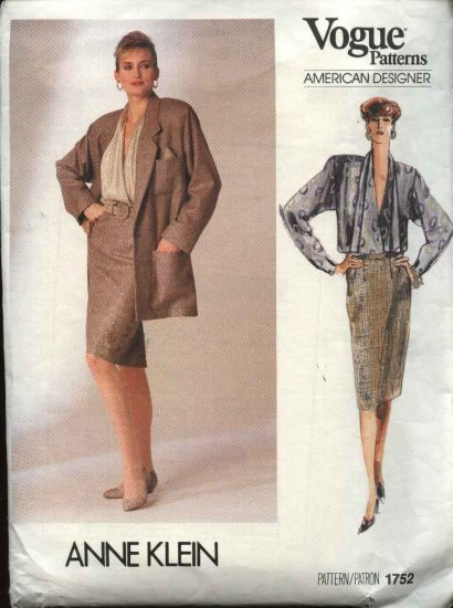 Vogue Sewing Pattern 1752 Misses Size 12 Anne Klein Jacket Skirt Blouse