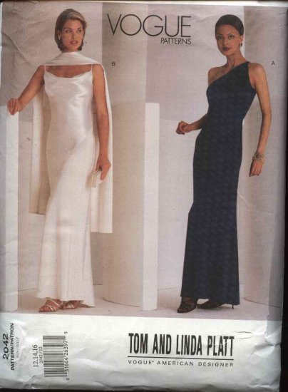 Vogue Sewing Pattern 2042 Misses Size 12-14-16 Evening Dress Formal Gown Stole Tom & Linda Platt