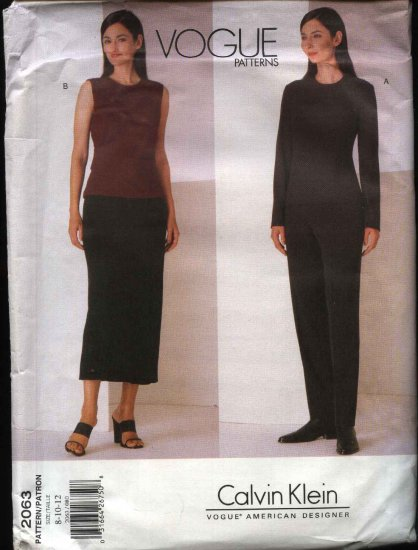 Vogue Sewing Pattern 2063 Misses Size 8-10-12 Calvin Klein Tops Skirt Pants