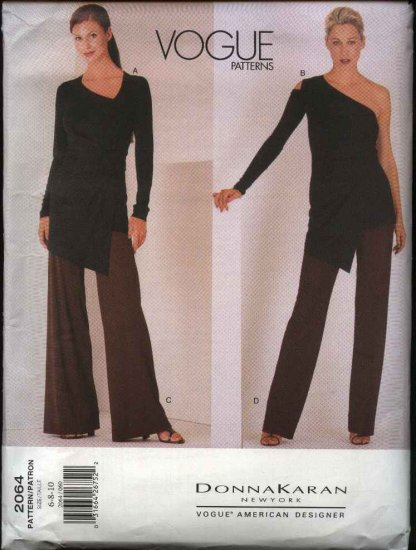 Vogue Sewing Pattern 2064 Misses Size 6-8-10 Donna Karan Tops Pants