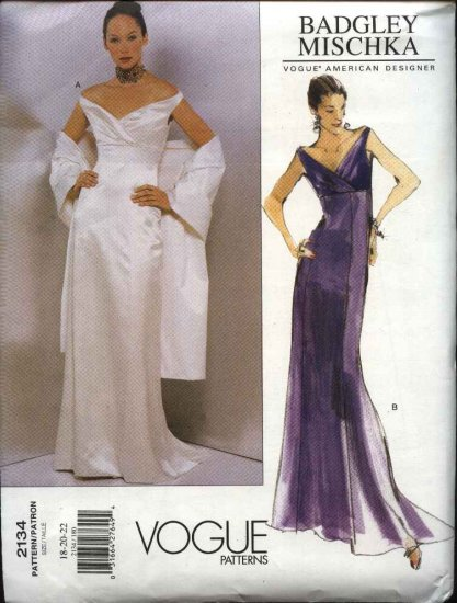 Vogue Sewing Pattern 2134 Misses Size 12-14-16 Badgley Mischka Formal Evening Gown Dress