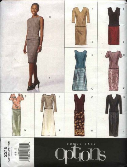 Vogue Sewing Pattern 2218 Misses Size 6-8-10 Easy Options Straight Skirt Princess Seam Top
