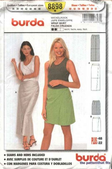Burda Sewing Pattern 8898 Misses Size 10-22 Easy Wrap Skirt