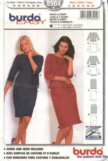 Burda Sewing Pattern 8904 Misses size 8-18 Easy Pullover Tops Straight Skirts
