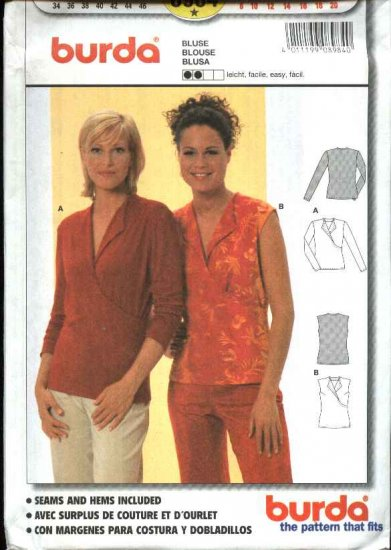 Burda Sewing Pattern 8984 Misses Sizes 8-20 Easy Knit Pullover Mock Front Wrap Blouse Top