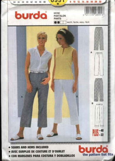 Burda Sewing Pattern 8991 Misses Sizes 8-22 Easy Fitted Pants