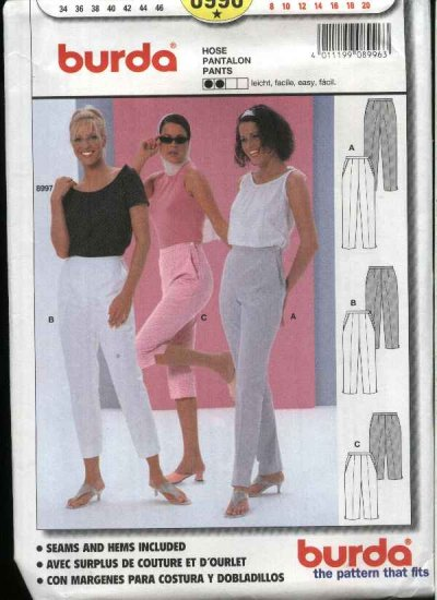 Burda Sewing Pattern 8996 Misses Sizes 8-20 Easy Fitted Pants Capris Pedal Pushers