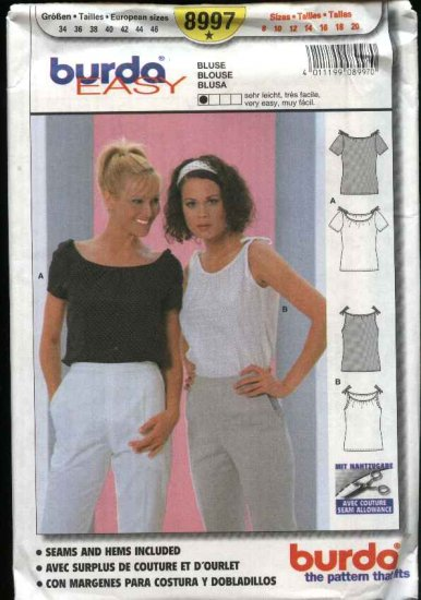 Burda Sewing Pattern 8997 Misses Sizes 8-20 Easy Pullover Tops Blouse