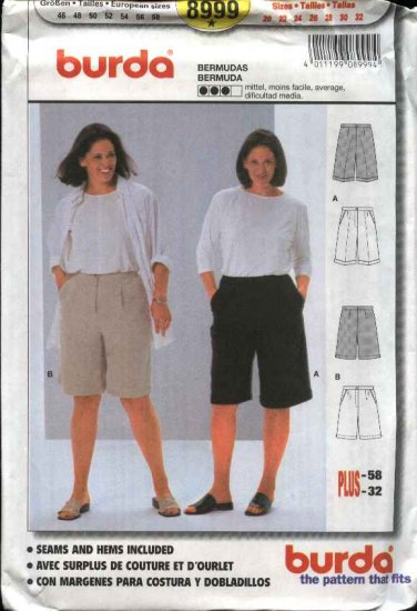 Burda Sewing Pattern 8999 Woman's Plus Size 20-32 Bemuda Walking Shorts