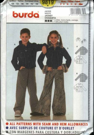 Burda Sewing Pattern 9819 Boys Girls Sizes 8-13Jr Denim Jean Jacket
