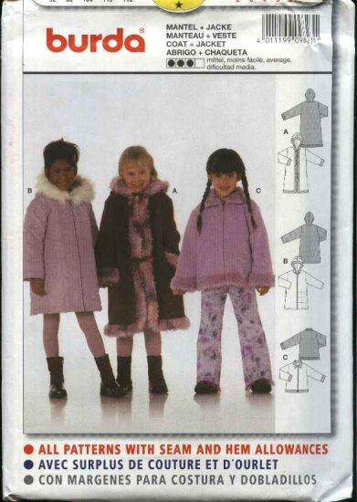 Burda Sewing Pattern 9823 Girls Size 2-6 Coat  Jacket Optional Hood