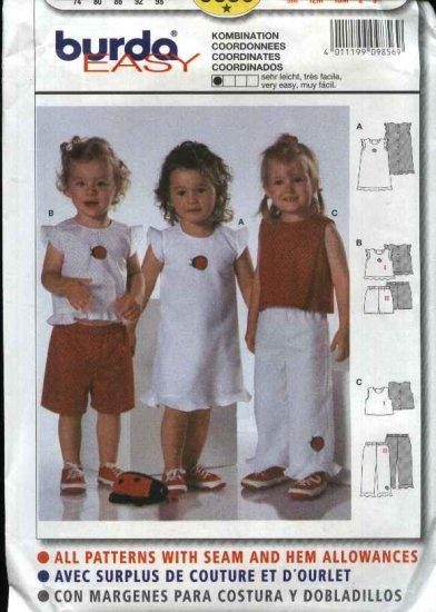 Burda Sewing Pattern 9858 Girls Size 9 month - 3 years Easy Dress Top Pants Shorts