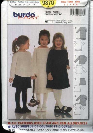 Burda Sewing Pattern 9870 Girls Size 2-6 Easy Dress Top Skirt