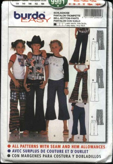 Burda Sewing Pattern 9901 Girls Juniors Sizes 9-14Jr Easy Bell Bottom Pants