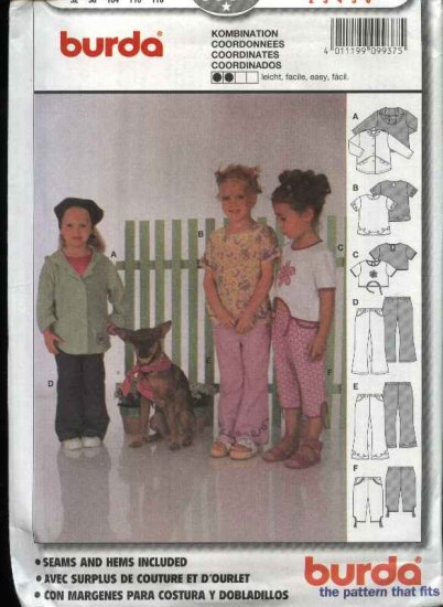 Burda Sewing Pattern 9937 Girls Size 2-6 Easy Jacket Top Pants
