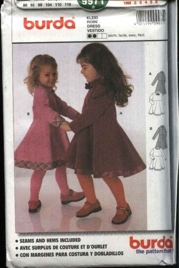 Burda Sewing Pattern 9971 Girls Size 18 months - 6 years Easy Dress
