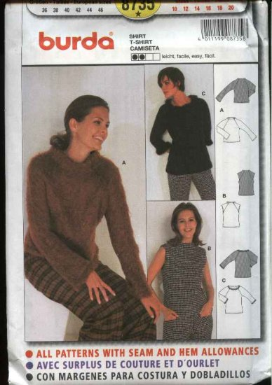 Burda Sewing Sewing Pattern 8735 Misses Sizes 10-20 Easy Knit Pullover Tops Sweaters