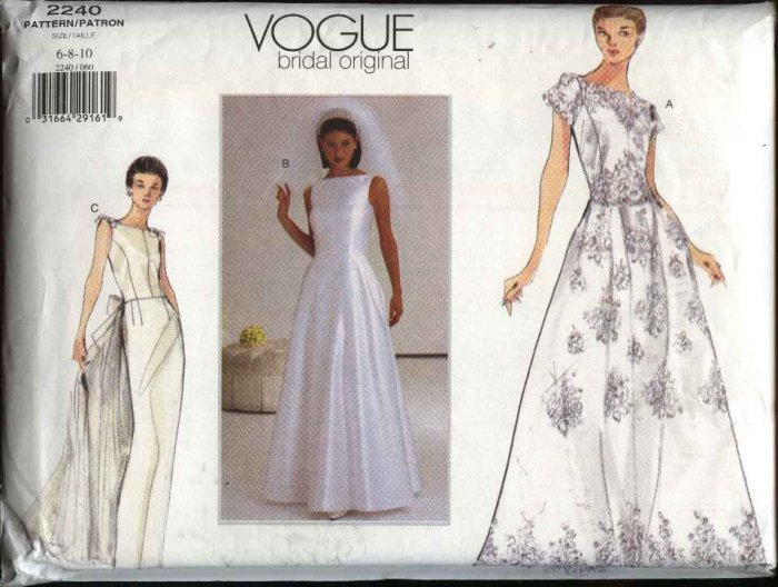 Vogue Sewing Pattern 2240 Misses size 6-8-10 Wedding Gown Bridal Dress