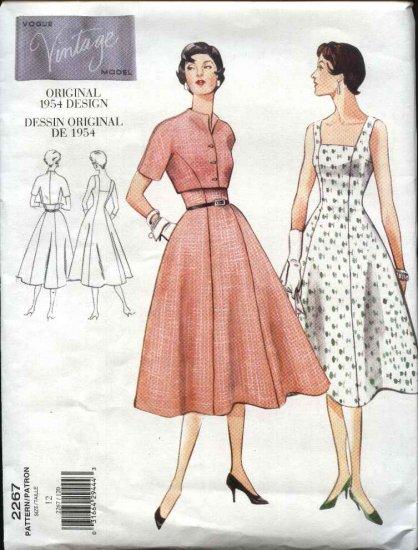 Vogue Sewing Pattern 2267 Misses Size 8 1950's Style Dress Jacket Bolero