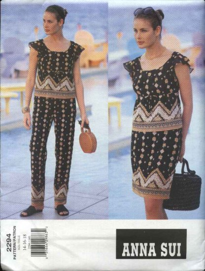 Vogue Sewing Pattern 2294 Misses Size 8-10-12 Easy Anna Sui Pants Top Skirt