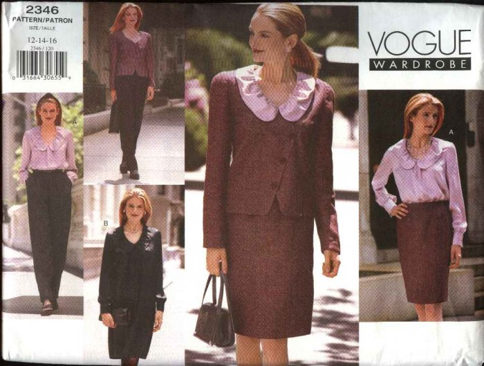 Vogue Wardrobe Sewing Pattern 2346 Misses Size 12-14-16 Easy Jacket Dress Skirt Top Pants