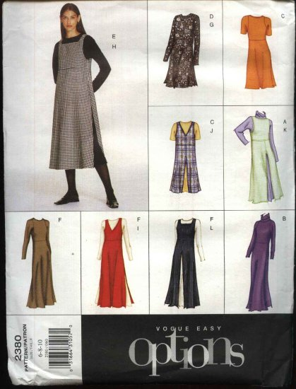 Vogue Sewing Pattern 2380 Misses Size 6-8-10 Easy Dress Jumper Overdress