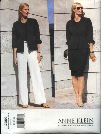 Vogue Sewing Pattern 2390 V2390 Misses Size 12-16 Anne Klein Easy Skirt Jacket Pants