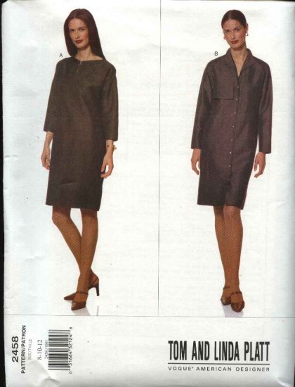 Vogue Sewing Pattern 2458 Misses size 8-10-12 Easy Dresses Tom & Linda Platt