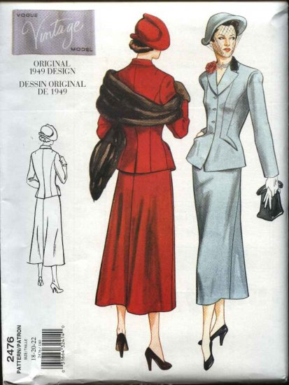 Vogue Sewing Pattern 2476 Misses Size 6-8-10 Vintage 1949 Style Skirt Jacket