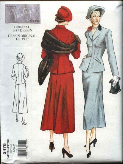 Vogue Sewing Pattern 2476 Misses Size 6-8-10 Vintage 1949 Style Skirt Jacket