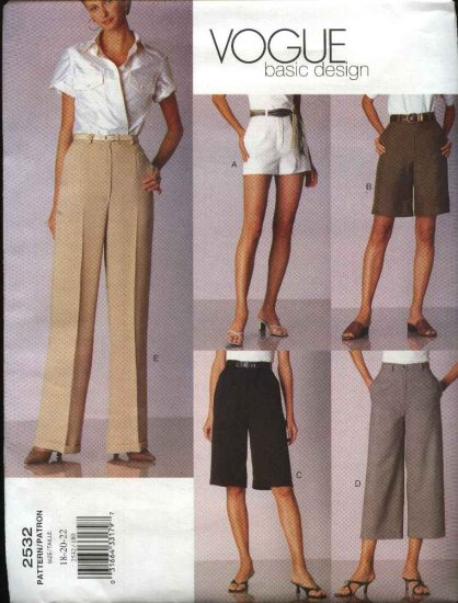 Vogue Sewing Pattern 2532 Misses  size 18-20-22 Easy Classic Pants Shorts Slacks Trousers