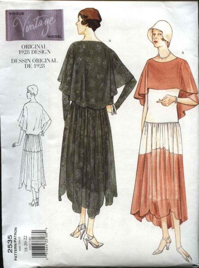 Vogue Sewing Pattern 2535 Misses Size 6-8-10 1928 Vintage Style Dress Slip