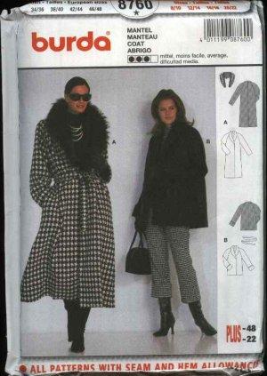 Burda Sewing Pattern 8760 Misses Size 8/10-20/22 Front Wrap Winter Coat jacket