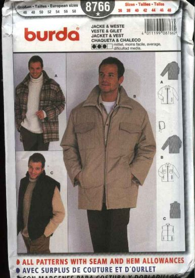 Burda Sewing Pattern 8766 Men's Size 36-48 Winter Zipper Front Jacket Vest Hood