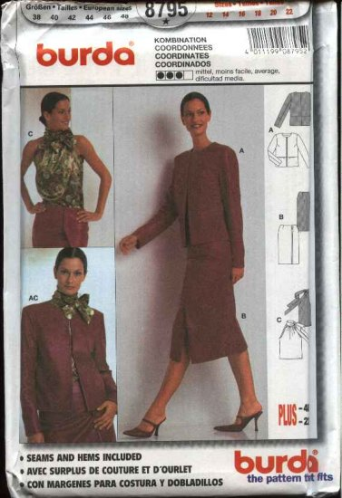 Burda Sewing Pattern 8795 Misses Sizes 12-22 Wardrobe Jacket Skirt Halter Top